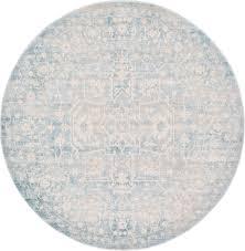 light blue 6 u0027 x 6 u0027 new vintage round rug area rugs esalerugs