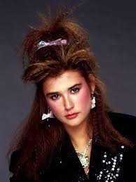 1980s feathered hair pictures 1980s makeup unknown female short bangs and bows crimped