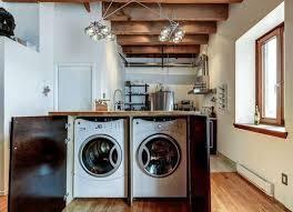 cuisine avec machine à laver îlot central sur mesure dans la cuisine pour dissimuler la machine à