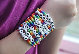 make bracelet with name images Rainbow ribbon party favor bags and bracelets rainbow parties jpg