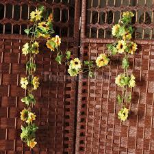 2pcs artificial sunflower garland silk flower vine wedding fence