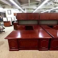 Used U Shaped Desk Used Novikoff Traditional Left U Shaped Desk With Hutch Mahogany