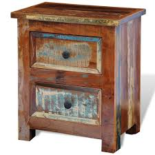 bedroom rustic reclaimed wood nightstand with double drawer