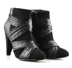 ladies ankle biker boots ladies womens new high heel zip up studded chelsea ankle biker