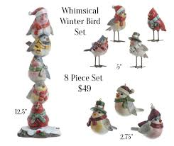whimsical winter bird figures 8 set shelley b home and