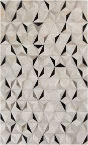 Modern Rug Patterns Vasant Global Bazaar Pyramid Tile Black Ivory Cowhide Rug 2x3