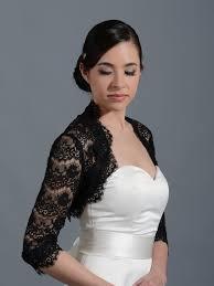 black 3 4 sleeve bridal lace wedding bolero jacket 051n