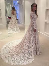 lace wedding dress with sleeves a line sleeves backless lace wedding dress tbdress