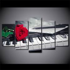 online get cheap poster music piano aliexpress com alibaba group 5 pcs set framed hd printed piano keys rose music compose wall canvas art modern painting poster picture for home decor