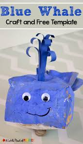 blue whale paper bag craft and template for kids