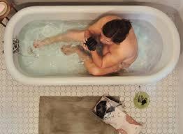 Women Bathtub In Bath Eating Food