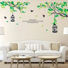 wall stickers birds custom boiler com tree branches birdcage birds wall decals for living room bedroom removable stickers murals decor artwall uk