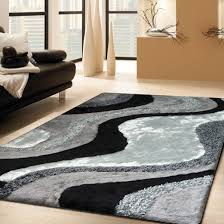 Grey Shaggy Rugs Luxurious Handmade Area Rug For Indoor Living Room In Grey With