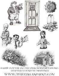 harry potter book 1 chapter 3 vignette drawings