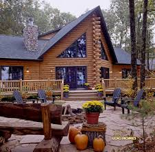 golden eagle log and timber homes log home cabin pictures fire pit rear of home