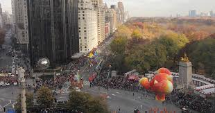 the iconic thanksgiving day parade from high above columbus