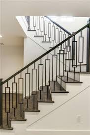 metal landing banister and railing centerville residence living dining kitchen house of jade
