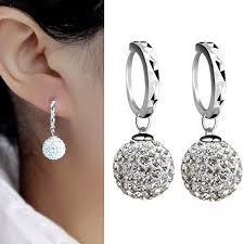 drop hoop earrings silver plated zircon dangle drop hoop earrings women jewelry