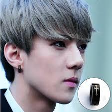 exo earrings exo sehun style titanium steel men without pierced earrings women
