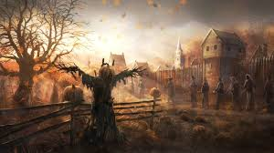 background for halloween village halloween scary horror nights scarecrow pumpkin haunted house hd