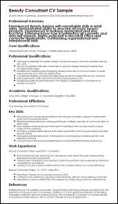Sap Consultant Resume Sample by Beauty Consultant Myperfectcv