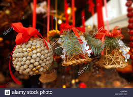 christmas market stalls with natural xmas decorations saltzburg