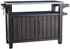 outdoor grill prep table bbq prep station grill cabinet storage serving table food cart patio