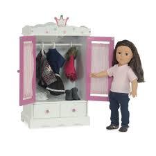 amazon com 18 inch doll wish crown storage doll armoire closet