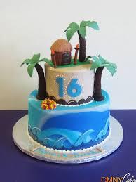 Tropical Themed Cake - sweet 16 hawaiian themed cake cmny cakes