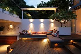 Outdoor Patio Lights Ideas Decorative Patio Lighting Ideas With Wooden Deck For Modern Patio