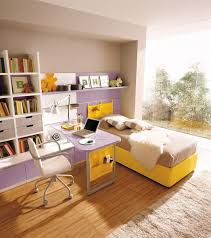 calming study room design with high shelving and corner desk