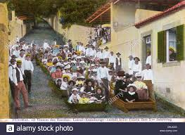 monte to funchal wicker toboggan madeira portugal stock photo