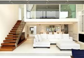 modern white living room with huge windows and curtains stock save