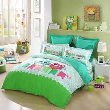 Bright Green Comforter Lime Green Turquoise Blue And Pink Cartoon Night Owl Print Jungle