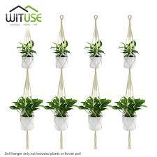Simple Macrame Plant Hanger - wituse 4pcs 2 deck handmade cotton pot holder simple macrame rope