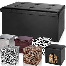 ottoman storage box faux leather cube folding pouffe cube