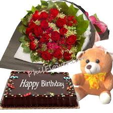 Birthday Cake Delivery 24 Red Roses Bouquet Bear With Happy Birthday Cake Delivery To