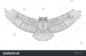 eagle owl coloring page animal collection stock vector 318608054