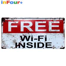 free wifi 30 15cm car license plate vintage home decor tin sign