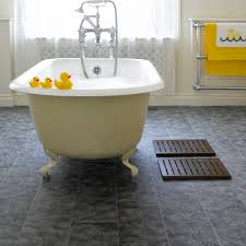 flooring ideas grey bathroom cork flooring and white clawfoot