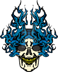 blue flaming skull design by ds designs on da on deviantart