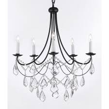 Black Iron Chandeliers Versailles 5 Light Black Iron Chandelier With T40 588