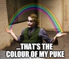 Puke Meme - joker rainbow hands meme imgflip