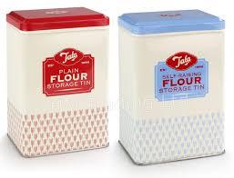 set of 2 plain u0026 self raising flour storage tins kitchen canister