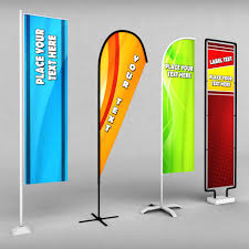 Standing Flag Banners 3d Model Flag Free Cgtrader