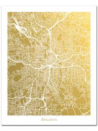 Map Of Atlanta Ga Atlanta Map Wall Art Gold Foil Map Of Atlanta Georgia