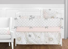 Moon Crib Bedding 9 Pc Blush Pink Gold Grey And White And Moon Celestial