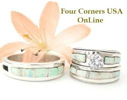 Opal Wedding Ring Sets by White Opal Inlay Engagement Ring Sets Navajo Wedding Rings