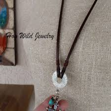 leather turquoise necklace images Womens leather sterling silver cross turquoise necklace hogwild jpg
