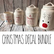 rae dunn inspired christmas bundle vinyl decals canister decals